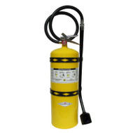 A photograph of front of a yellow 30 lb 09592 amerex model B571 class D copper powder fire extinguisher.