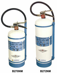 A photograph of an Amerex B270NM 1.75 gallon water mist extinguisher (left) next to the Amerex B272NM 2.5 gallon model (right).