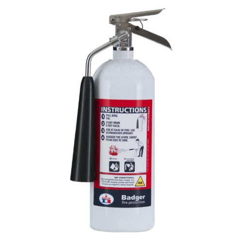 A photograph of a 5 pound Badger Model B5V-2 MR Non-Magnetic Carbon Dioxide Fire Extinguisher.