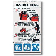A photograph of a 09965 ABC cartridge extinguisher instructional label.