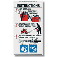 A photograph of a 09966 BC cartridge extinguisher instructional label.