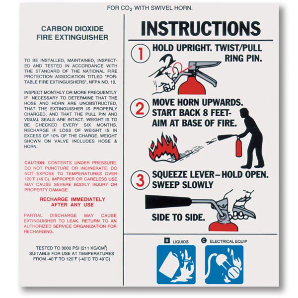 Carbon Dioxide Fire Extinguisher Nameplate Labels w/ Instructions - Safety  Emporium