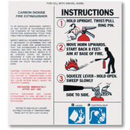 A photograph of a 09967 carbon dioxide fire extinguisher nameplate label with instructions.