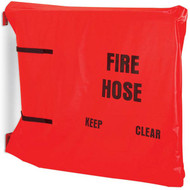 A photograph of a red 09901 hump-style fire hose rack cover.
