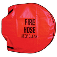 A photograph of a red 09902 fire hose reel cover.