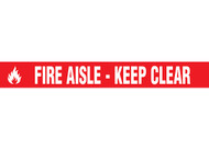 """Picture of Printed Warning Tape reading """"Fire Aisle - Keep Clear"""" in white lettering on red background."""
