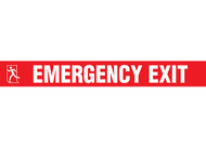 """Picture of Printed Warning Tape reading """"Emergency Exit"""" in white lettering on red background."""