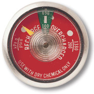 A photograph of front of a red 09831 dry chemical fire extinguisher gauge.