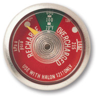 A photograph of front of a red 09832 halon 1211 fire extinguisher gauge.