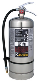A photo of a 6 liter capacity Ansul K-Guard Wet Chemical Class K Kitchen Extinguisher.