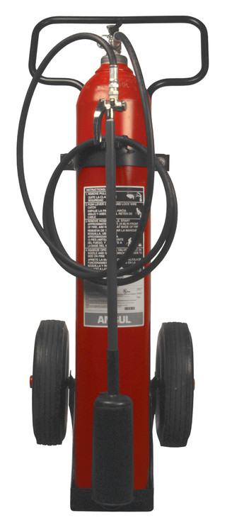 A photo of an Ansul 50 lb single cylinder CO2 Wheeled Fire Extinguisher.