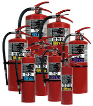 A group photo of various assorted Ansul Sentry dry chemical extinguishers.