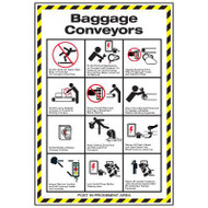 A photograph of a 11005 baggage conveyor safety wall poster with graphics and instruction.