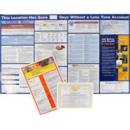 A photograph of a 11008 OSHA safety poster listing OSHA notices and safety information.