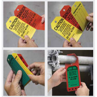Photographs of an orange, yellow, and green 12257 3 in 1 scaffold status tag system being folded and placed in safety status tag holder.