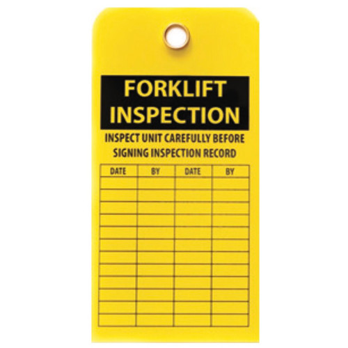 A photograph of a yellow 12200 forklift inspection tag, with 10 per package.