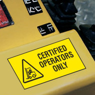Forklift Label, Certified Operators Only w/ Graphic, 5/pkg