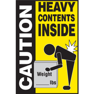 A photograph of a yellow and black 12302 caution heavy contents inside shipping label, with 500 per roll.