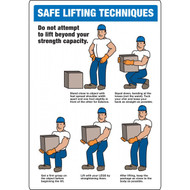 A photograph of a blue and white 12310 safe lifting techniques sign with annotated graphics.