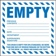 A photograph of a white and blue 12318 empty hazardous waste labels.