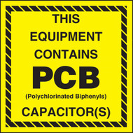 A  photograph of a yellow and black 12340 PCB Marker, EPA Reference 761.20(d), reading this equipment contains PCB capacitor(s).