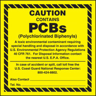 A  photograph of a yellow and black 12342 PCB Markers, EPA Reference 761.44(a), reading CAUTION CONTAINS PCBs.