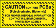 A photograph of a yellow and black 12343 PCB marker, reading caution contains PCBs, for proper disposal information contact U.S. Environmental Protection Agency.
