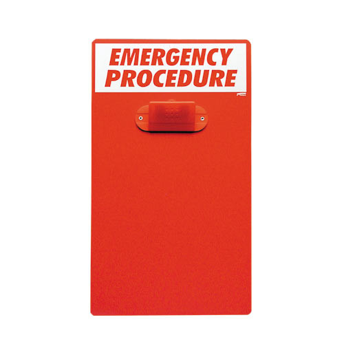 A photograph of a red 08212 emergency procedure clipboard .
