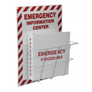 A photograph of a red and white 08215 emergency information center with binder and storage rack.