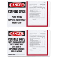 A photograph of two 08500 confined space permit holder boards, reading permit must be completed and authorized prior to entry and safety regulations require that a confined space entry permit be completed and authorized prior to entry.