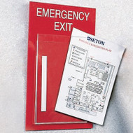 A photograph of a red 08200 emergency exit evacuation plan holder.