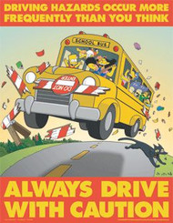 The Simpsons Safety Poster - Always Drive With Caution