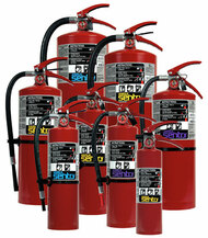 A group photo of various Ansul Sentry dry chemical fire extinguishers.