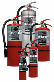 A group photo of several Ansul CleanGuard Clean Agent Fire Extinguishers.