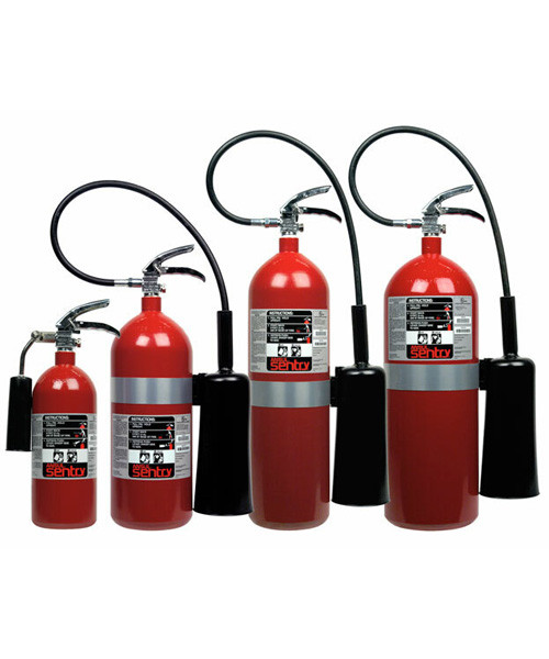Group shot of 5, 10, 15 and 20 lb Ansul Sentry CO2 extinguishers.