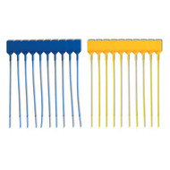 A photograph of a blue and a yellow 09775 matted medium flag fire extinguisher seals, with 100 per package.