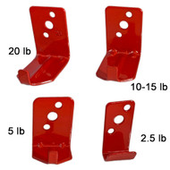 A photograph of four 09860 universal wall hanger hooks for fire extinguishers for 2.5, 5, 10-15, and 20 lb extinguishers.