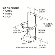 A dimensional drawing of an Ansul 435793 Vehicle Bracket For A10S Extinguishers.