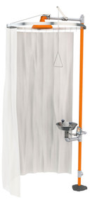 A photograph of the Guardian AP250-015 Modesty Curtain for Horizontal Showers and Safety Stations installed on a freestanding Guardian safety stations.