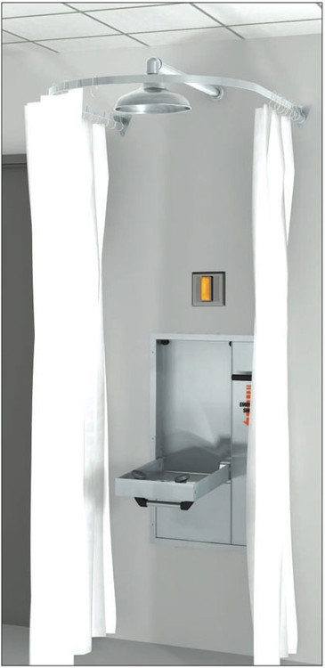 A photograph of a AP250-065 Modesty Curtain for Recessed Laboratory Units installed on a pull-down eyewash station.