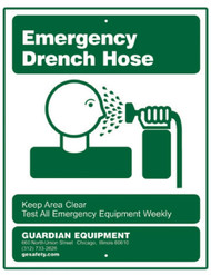 A picture of the green on white Guardian 250-006 Emergency Drench Hose Sign.