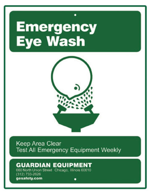 A picture of the green on white 250-007G Emergency Eye Wash Sign.