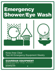 A picture of the green on white 250-008G Emergency Shower/Eye Wash Sign.