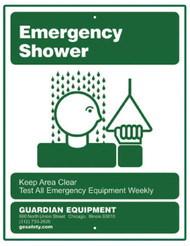 A picture of the green on white Guardian Guardian 250-009G Emergency Shower Sign.