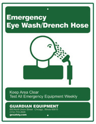 A picture of the green on white Guardian 250-010G Emergency Eye Wash/Drench Hose Sign.