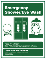 A picture of the green on white Guardian 250-012G Recessed Emergency Shower/Eye Wash Sign.