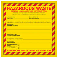 A photograph of a yellow and red 12322 federal hazardous waste labels with 500 per roll.