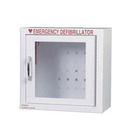 A photograph of a white 13000 emergency defibrillator cabinet.