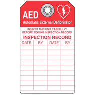 A  photograph of a red and white 13004 plastic emergency defibrillator (AED) inspection tag with 5 per package.