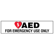 A photograph of a 13007 AED label reading AED for emergency use only with graphic.